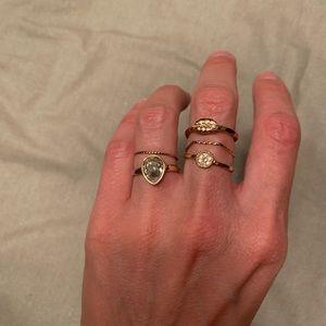 5 piece gold ring set